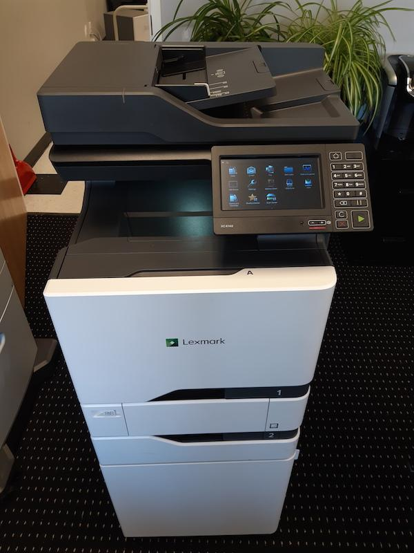 Used Lexmark XC4140 w/ 2 paper trays and a stand