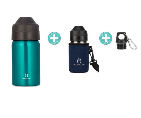 Bundle 350ml Bottle - Emerald Green with Cuddler and Screw Top Lid