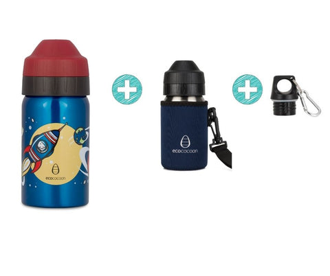 Bundle 350ml Bottle - Rocket Racing with Cuddler and Screw Top Lid