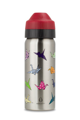 Ecococoon 500 ml stainless steel vacuum insulated drink bottle - Origami Cranes