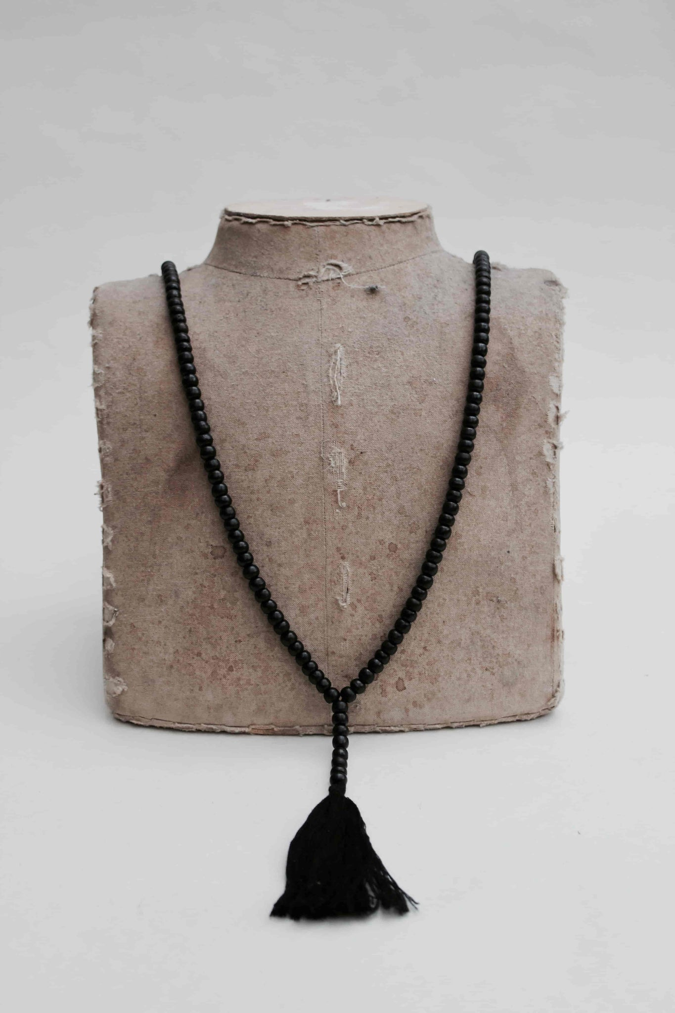 Beautiful Handmade Mala Bone Necklace With Silk Tassel