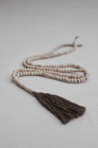 Beautiful Handmade Cream Mala Bone Necklace With Silk Tassel