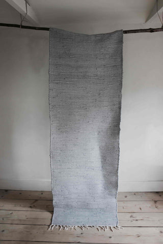 Grey/Blue 100% Recycled Cotton Hallway Runner - Extra Long
