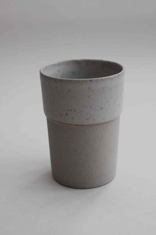 Handmade Stoney White Ceramic Beaker - Medium