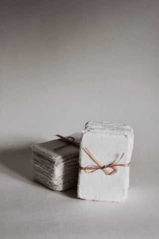 Small Stoney White Recycled Handmade Paper Cards (Pack of 50)