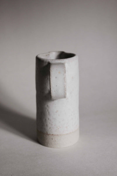 Small Stoney White Ceramic Milk Jug with Handle