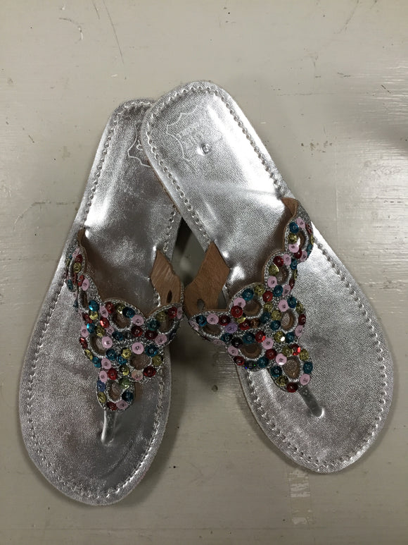 Silver and sequence sandals