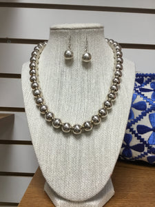 Sterling Silver beaded Necklace and earrings