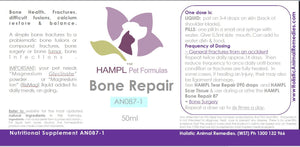 AN087 - Bone - broken, compound fractures, hairline fractures, bone growth support, bone Inflammation (panosteitis), bone density, bone erosion, broken jaw, pain.