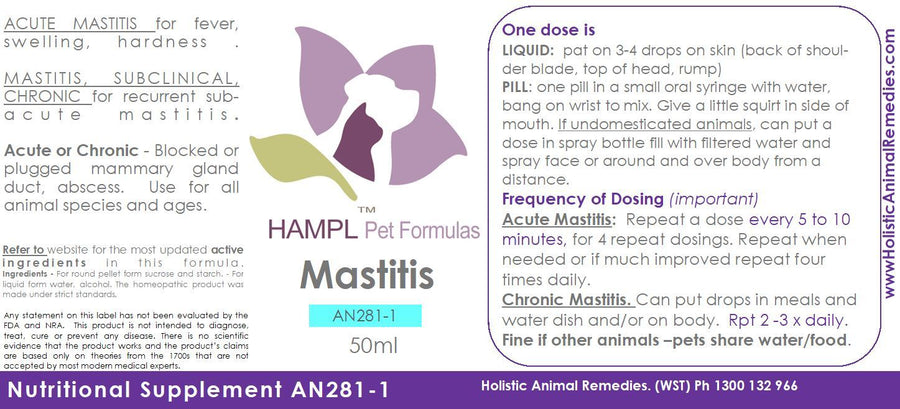 AN281 - Mastitis - pain, infection, plugged or blocked duct gland - cow, goat, horse, dog, cat, all species