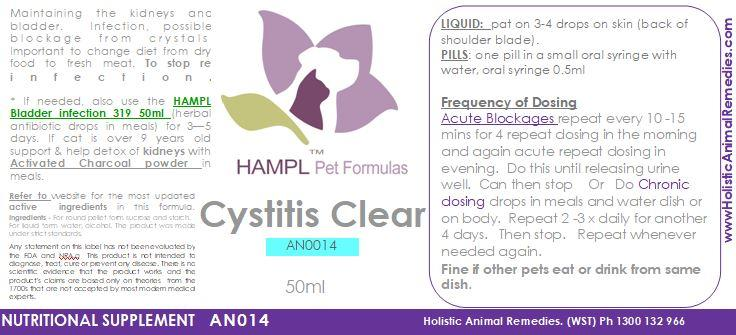 AN014 - Cystitis (UTI)-bladder - licking genitals, dribbling urine - nutritional supplement