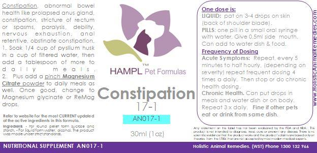 AN017 - Constipation Acute or Chronic in dog or cat or other species