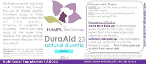 AN023 - Fluid in Lungs, Chest Cavity (DuraAid) e.g. Chylothorax in cat or dog. A natural alternative to Furosemide, but with none of the potential side effects.