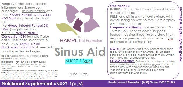 AN027(A) - Sinus Bacterial - Viral Infections (e.g. bacteria pasteurella or viral Infection, allergic rhinitis, sphenoid sinusitis Infection, mucous discharges)  Or  Nasal Blockages (polyps, scarring, blockage from respiratory infections)