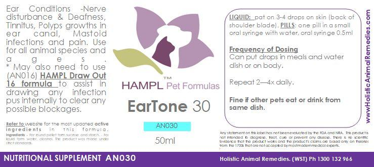 AN030 - Ear Deafness, Ear Polyps (or tinnitus or old age) Homeopathic remedies for your cat, dog, all species.