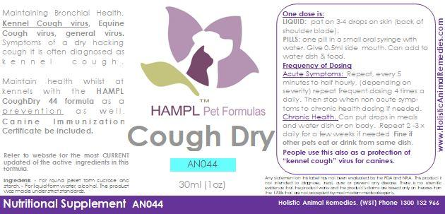 AN044 - Cough Dry hacking - Kennel Cough Virus, CPiV, Bordetella Virus prevention.