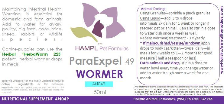 AN049 - ParaExpel - Wormer (HOMEOPATHIC) e.g. Nematodes (Lungworm and Spirocerca lupi others), Intestinal worms - protozoan - microscopic parasite T.foetus, Campylobacter Bacteria. For cat, dog, kitten, puppy, chook, rabbits, birds.