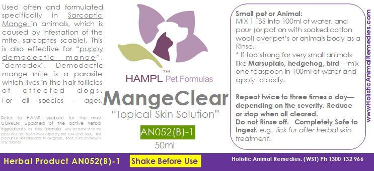 AN052(B) - Mange (SKIN mites on body) demodectic mange in SMALL SPECIES e.g. Feline, Rabbit, Wombat, Fowl (bird)