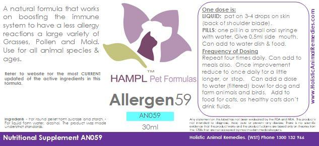 AN059 - Allergy - allergies to 41 types of grass, pollen, mold, plants, pollen of various grasses, weeds, flowers, trees