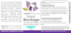 AN062 - Nasal or Throat obstruction (from polyps in the nasal passage, vocal cord, or throat and infections, enlargement of adenoids-tonsil, nasal papillomas or nasopharyngeal benign growth-inverted papilloma, or chondroid)