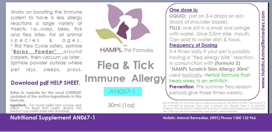 AN067 - Flea & Tick Repellant All natural homeopathic & herbal - also use if pet has a allergy to flea bite causing skin dermatitis