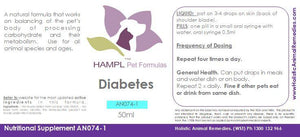 AN074 Diabetes Mellitus Type I & II - Dog or Cat Naturopathic Support