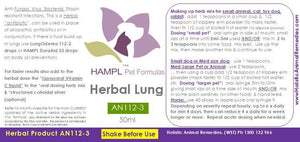 AN112 - Pneumonia - Lung, Flat-chested Syndrome (FCKS), Fading Puppy, Kitten Syndrome, Pasteurealla, Pseudomonas aeruginosa infections (SOLUTION) Use for all animal species and ages.