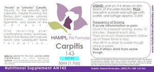 AN143 - Joint - Inflammation in dog, cow, cat, horse - all species. e.g carpitis in equines (carpal - knee strain and damages)