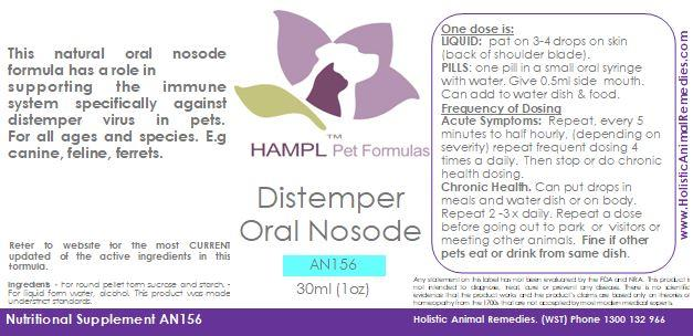 AN156 - Canine Distemper & Feline Panleukopenia, Ferret Distemper Oral Nosodes  - Homeopathic Prophylactic.