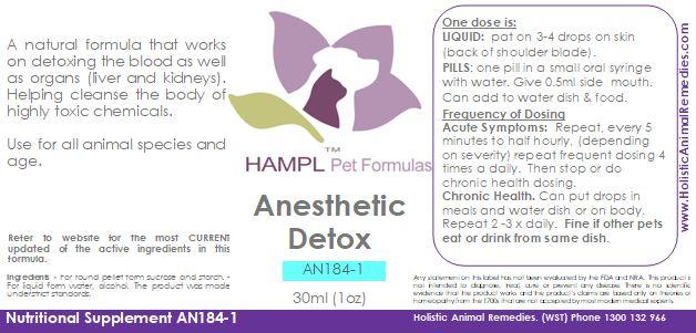 AN184 - Anaesthesia or Anesthetic Detox from toxic chemicals that cause many side effects.