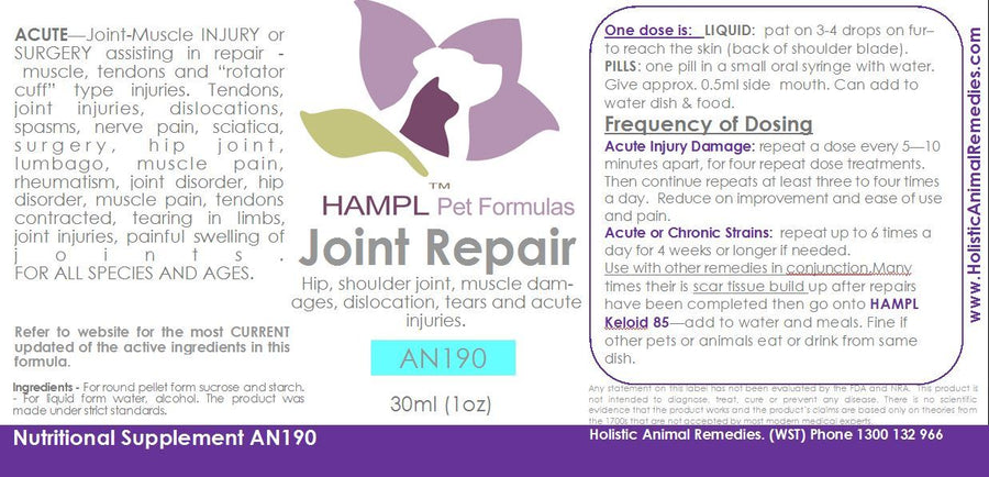 AN190 - INJURY - Joint / Nerve / Muscle - injuries, dog fight or dog attack - strains, tendon, muscle tears, scoliosis, nerve pain or damages, joint dislocations in hips or knee or ankle or shoulder - for all species