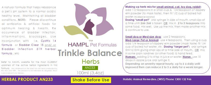AN233 - Trinkle Balance - herbal formula for bladder incontinence