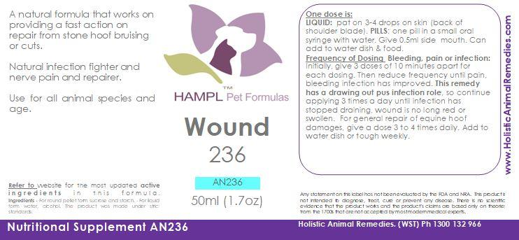 AN236 - Wounds - All Species injuries Pad, foot, paw injuries, skin bleeding, infections or equine hoof stone bruising