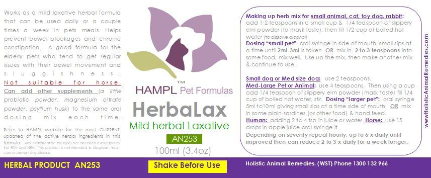 AN253 - Mild herbal laxative for all species except  (not suitable for equines).