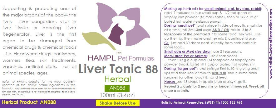 AN088 - Liver herbal tonic (old age, or just use as a liver support) Liver Shunt in puppies or adult dogs