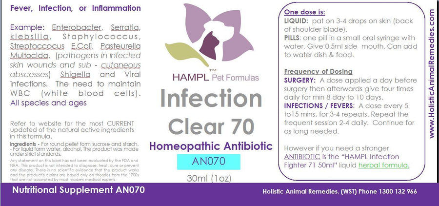 AN070 - Antibiotic Homeopathic - FEVER, INFECTION, INFLAMMATION for all species