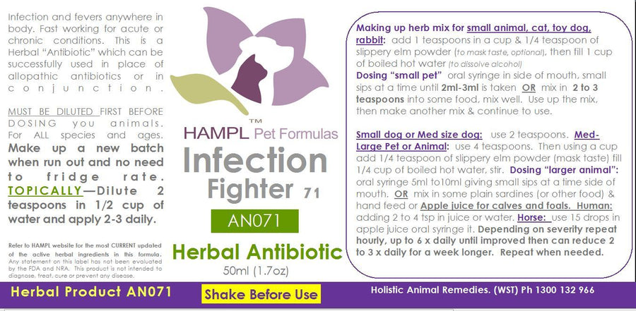 AN071 - Herbal Antibiotic Infection Fighter (systemic infection or  localized infections) for all species