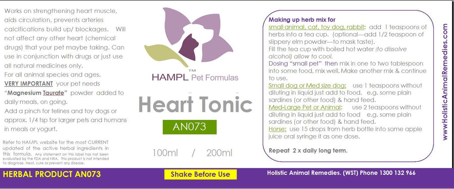 AN073 - Heart Tonic - A herbal tonic that is nutritional and restorative, aiding better circulation and heart support - for all species