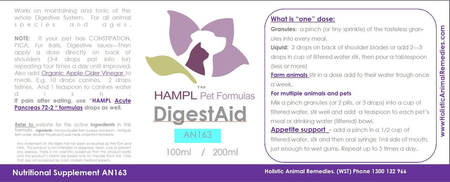 AN163 - Digestion Enzyme Aid (tasteless) add to food or water trough