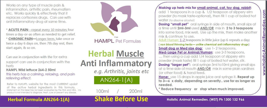 AN264(A) - Herbal Muscle Anti-inflammatory Fast Pain Relief (e.g. Arthritis, Muscle Pain A non additive drug and non-blood thinning safe alternative to chemical drugs for all species and ages)