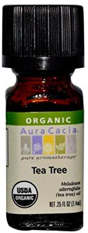 Aura Cacia Organic Tea Tree Essential Oil .25 fl oz.