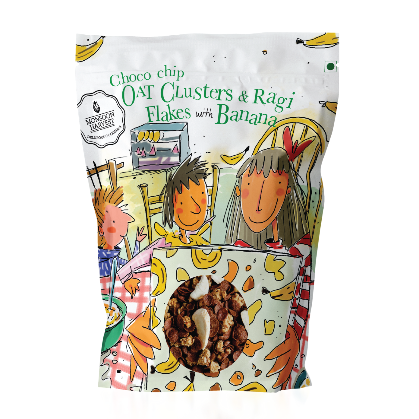 Breakfast Cereal - Choco chip Oat Clusters & Ragi Flakes with Banana - 1 KG