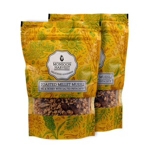 Toasted Millet Muesli - Fig & Honey with Salted Pistachios 2 x 250 g
