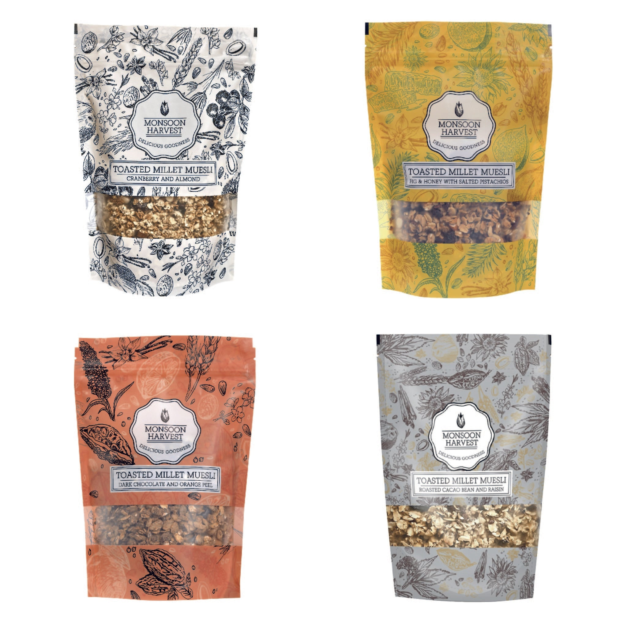 Toasted Millet Muesli - Assorted Variety Pack 4 x 250 g