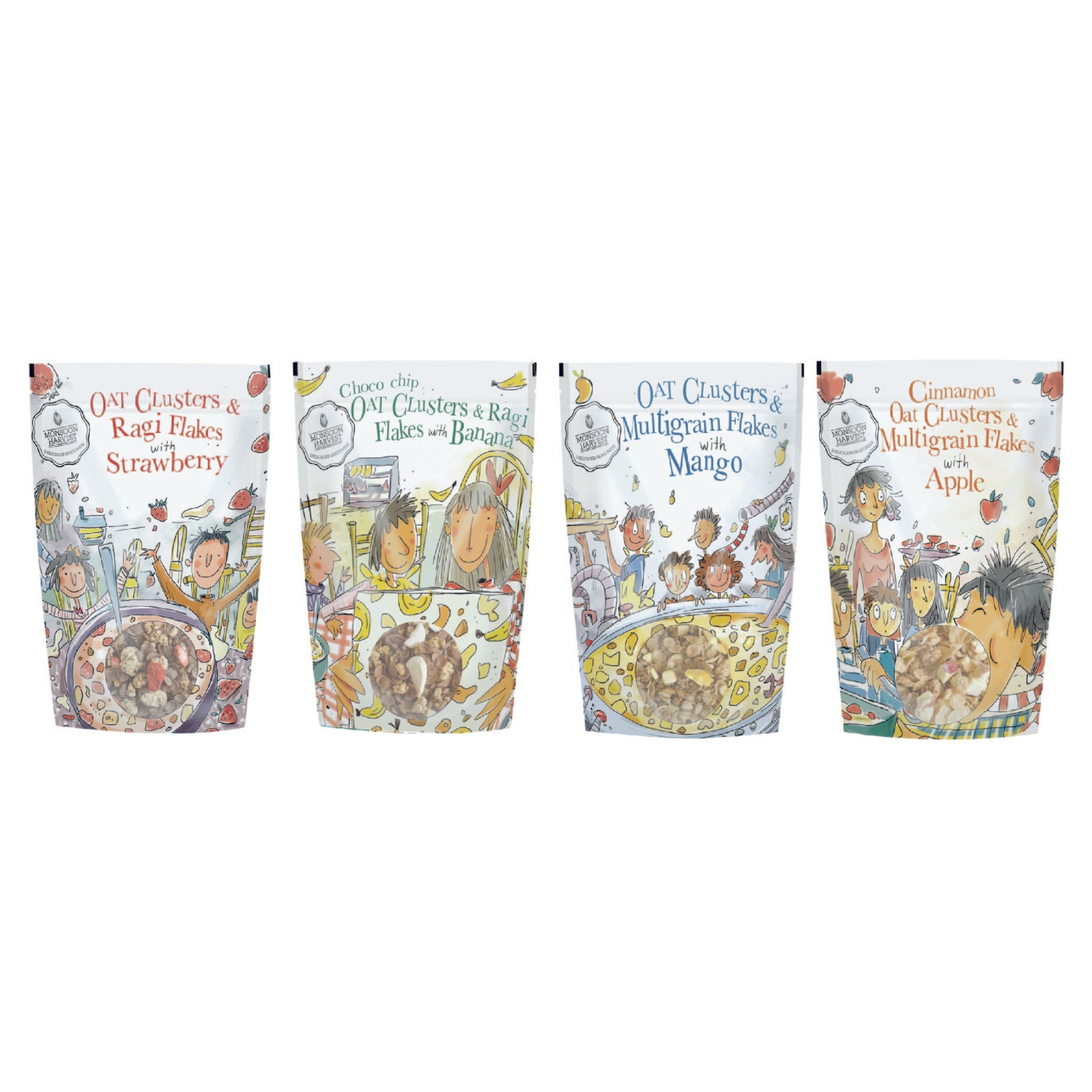 Clusters & Flakes Breakfast Cereal with Real Fruit: Variety Pack of 4
