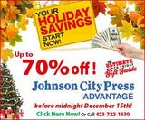 Holiday Savings - 13 Weeks of 7-Day Print + Digital - Johnson City Press (with $3 activation fee price is $21)