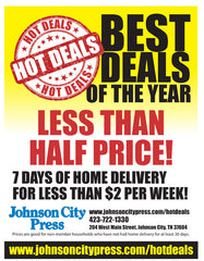 Best Deals of the Year - $96 for 52 Weeks - Print + Digital - Johnson City Press (with $3 activation fee price is $99)
