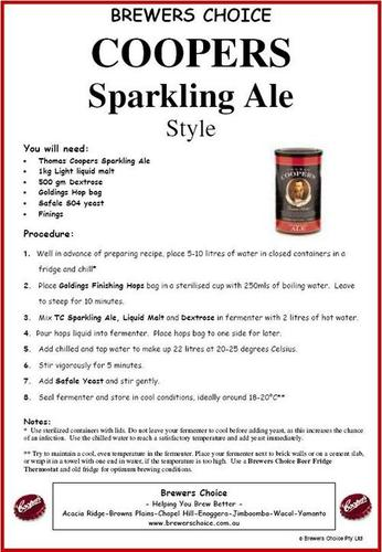 Brewers Choice Coopers Sparkling Ale Style