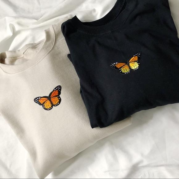 NEW Black Oversized Butterfly Sweatshirt Soft LATASHANICOLE