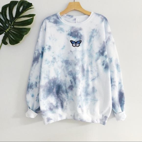 NEW Oversized Butterfly Blue Tie dyed Sweatshirt LATASHANICOLE